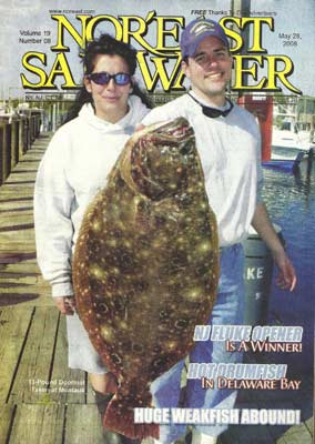 Magazine cover of Nor'east Saltwater showing the Captains with a doormat fluke