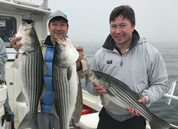 Two men hold up the striped bass they each caught.