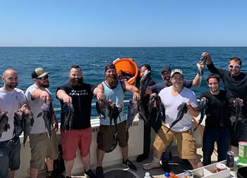 Eight men stand side by side and hold up the sea bass they caught.