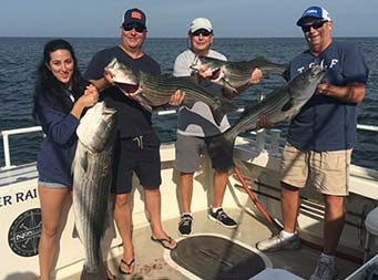 A woman and three men each smile and hold up striped bass.