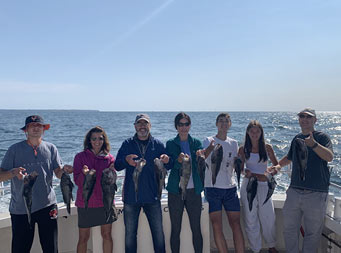 With a clear blue sky above, 7 people smike, each holding up 2 sea bass.
